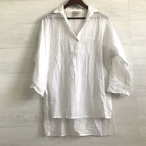 LOFT White Sheer Grid Texture Roll Tab Blouse
